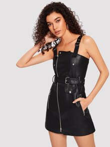 0bc4045f75 Faux Leather Belted Overall Dress