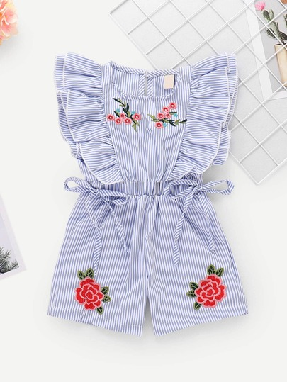 ca96eb4ca62 Toddler Girls Floral Embroidery Ruffle Striped Jumpsuit