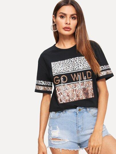 Camiseta con estampado de animal mixto y letra d12f994333c16