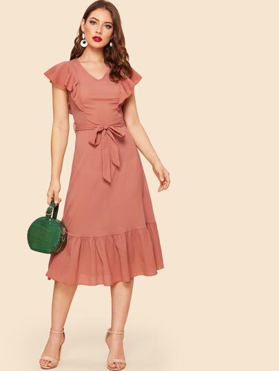 138a84391f 70s Self Belted Pephem Ruffle Dress
