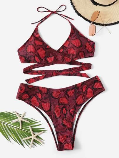 58bad46f178 Plus Snake Print Wrap Top With High Cut Bikini