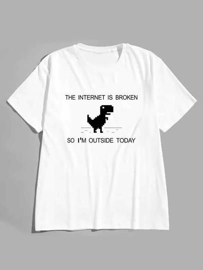 Camiseta de hombres con estampado de slogan b817acc35b5f2