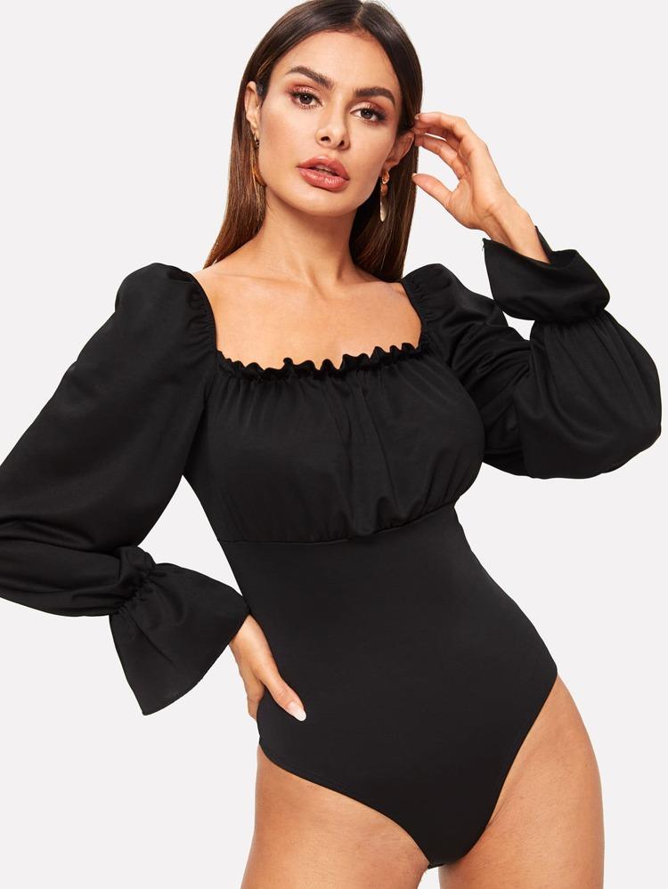 5381a5b658 Grommet Lace-Up Back Bodysuit | SHEIN