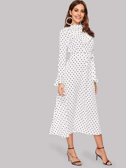 Polka Dot Flounce Sleeve Ruffle Midi Dress 74a288652