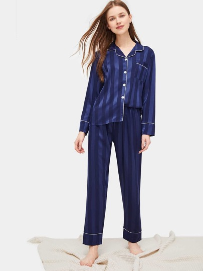 73ee0486e3 Satin Contrast Binding Striped Pajama Set
