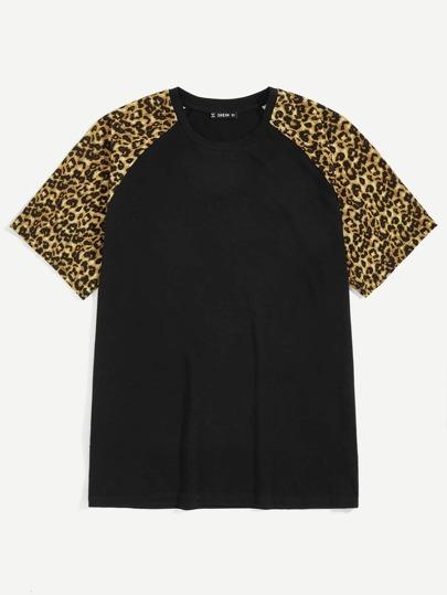 5086c6ee0619 Men Leopard Print Raglan Sleeve Tee