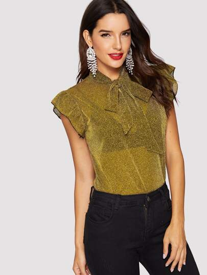 e28d83a280a42 Ruffle Embellished Tied Neck Glitter Blouse