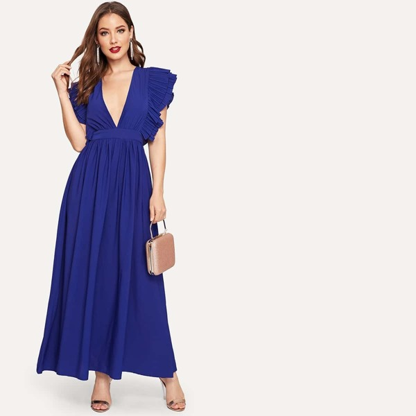 Plunging Neck Ruffle Trim Dress, Blue
