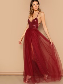 ba0f3242597 Cheap Sequin Top Tie Back Mesh Tulle Prom Dress for sale Australia ...