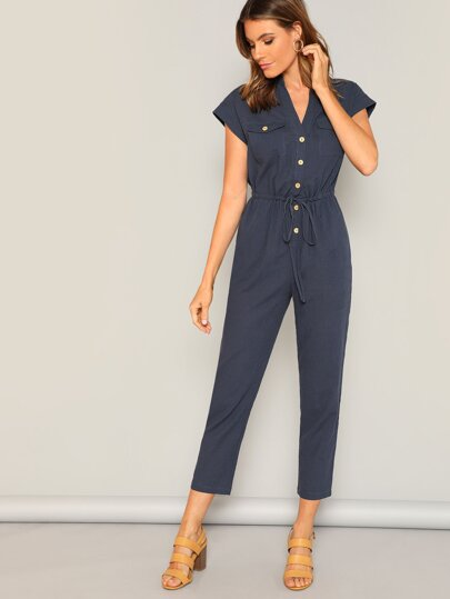 616a692eb5c Waist Drawstring Button   Pocket Front Solid Jumpsuit