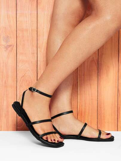 cc39910a3687 Strappy PU Flat Sandals