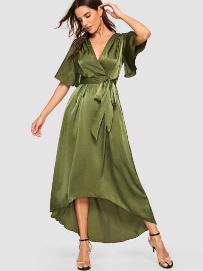 379b940672 Surplice Wrap Asymmetrical Hem Belted Satin Dress