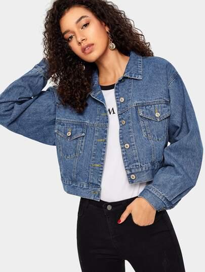5af662a7ae5 Bleach Wash Crop Denim Jacket