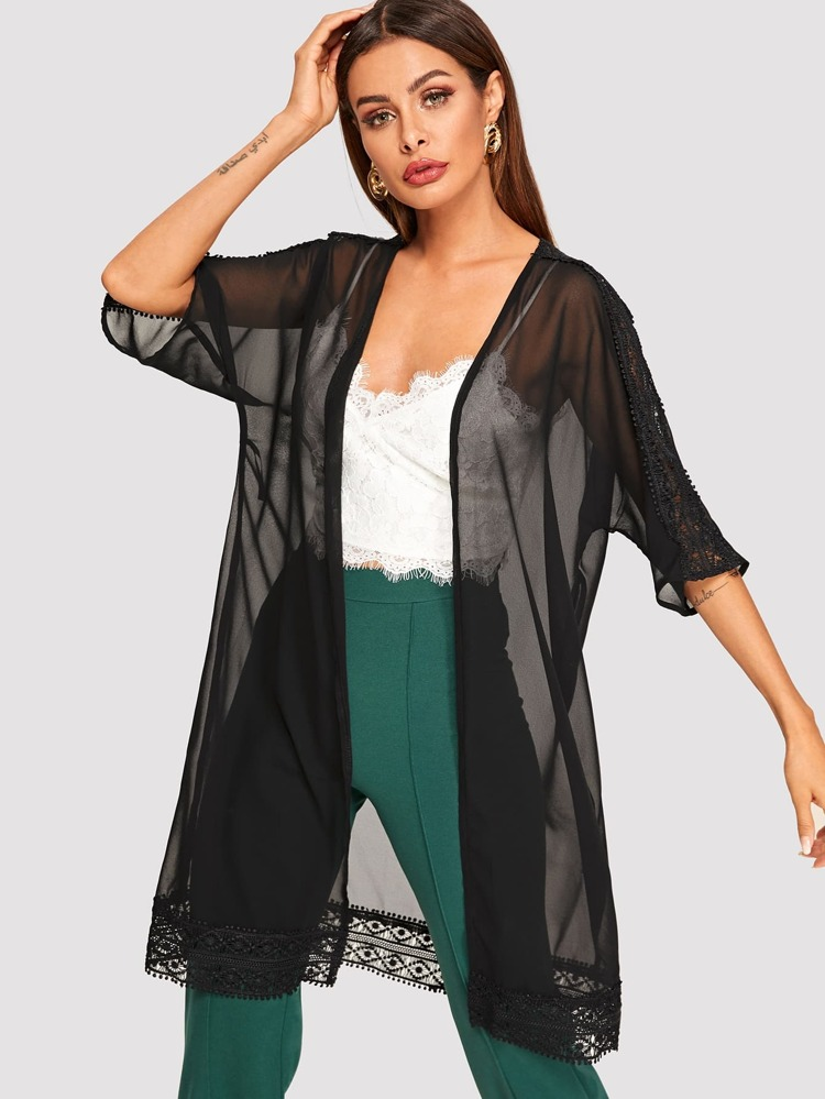 3fe9009e Svart Kontrast Spets Slätt Sexig Kimono | SHEIN SE