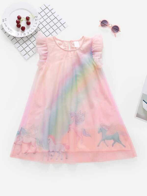 741fbe421d2 Cheap Toddler Girls Frill Unicorn Print Mesh Dress for sale Australia