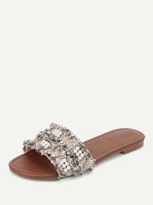 bd3bcbbdeead Faux Pearl Decor Tweed Flat Slippers