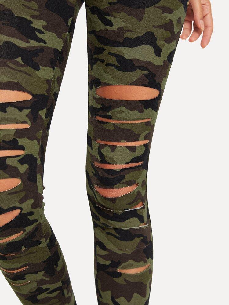 40492f800612d3 Cheap Camo Print Ripped Leggings for sale Australia   SHEIN