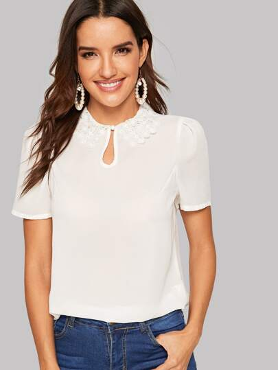 28e0e271c0728 Guipure Lace Collar Keyhole Top