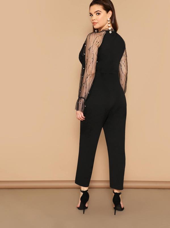 b0ede01053e Cheap Plus Keyhole Front Pearls Beaded Mesh Sleeve Jumpsuit for sale  Australia