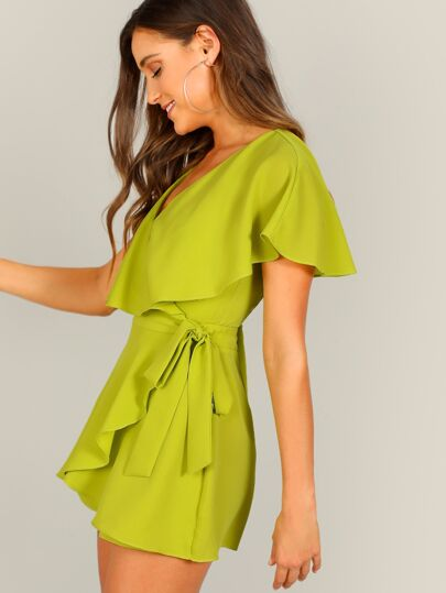 06b22df3803b Surplice Neck Neon Lime Wrap Knotted Romper