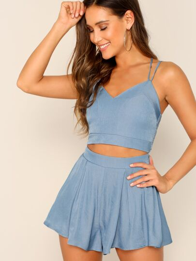 f64698b4cb71e Zip Back Strappy Top   Culottes Skirt Set