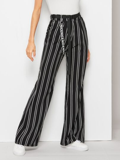 c0397e2c13a2 Striped Letter Tape Trim Belted Pants