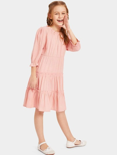 Girls Frill Detail Tiered Ruffle Dress