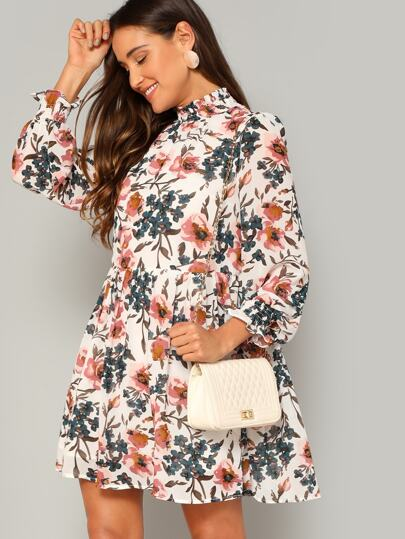 5a91583019 Shirred Trim Floral Smock Dress