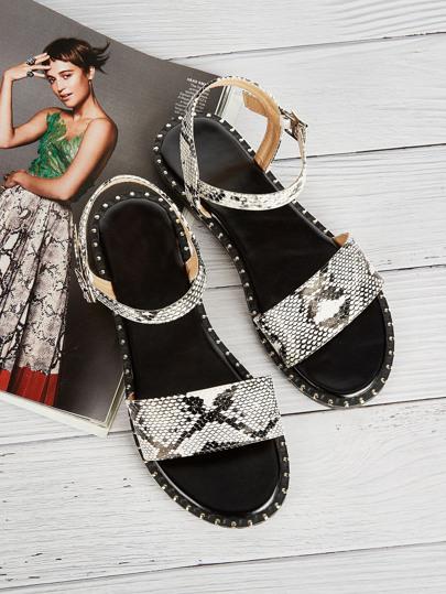 489941fdce1d1 Snakeskin Pattern Flat Sandals