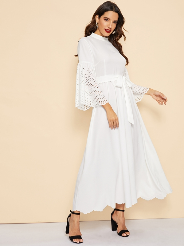 4f5887c339228 Shoptagr | Scallop Edge Laser Cut Bell Sleeve Belted Dress by Shein