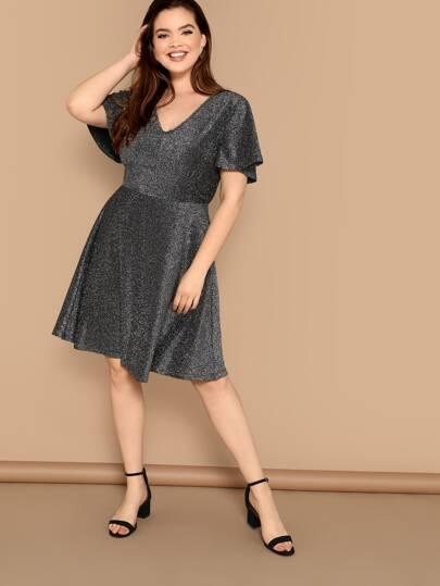 Plus V-neck Bell Sleeve Glitter Dress 27e51b282