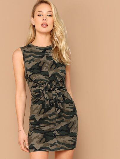 3754162401f Knot Front Camo Print Fitted Dress