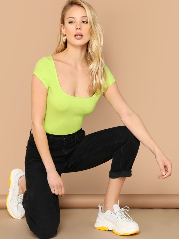 d26c17d3d00 Neon Lime Scoop Neck Fitted Tee