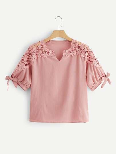 4fd17290bec9d Plus Contrast Lace Knot Cuff Blouse
