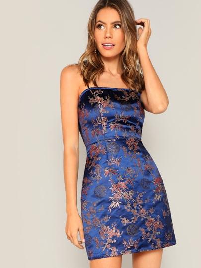Floral Jacquard Satin Cami Dress 6165cd007315