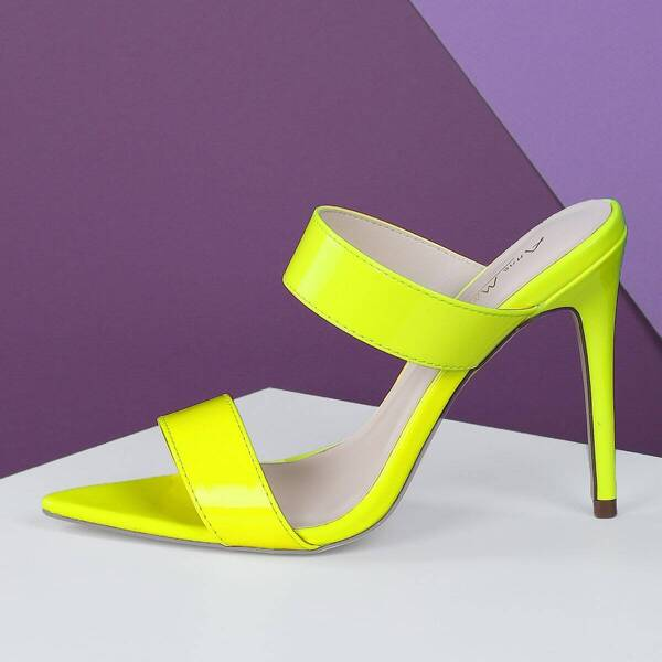 Two Band Point Insole Stiletto Mule Heels, Yellow bright