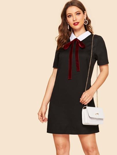 084bb8bc3d5 Cheap Velvet Tie Contrast Collar Tunic Dress for sale Australia | SHEIN