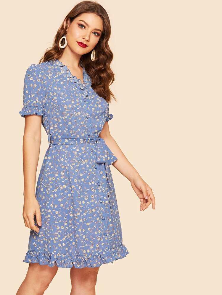 30bb9d2c571 40s Ditsy Floral Frill Trim Belted Tea Dress