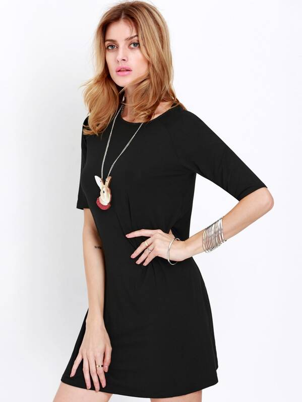 Elbow Sleeve Casual Dress Sheinsheinside