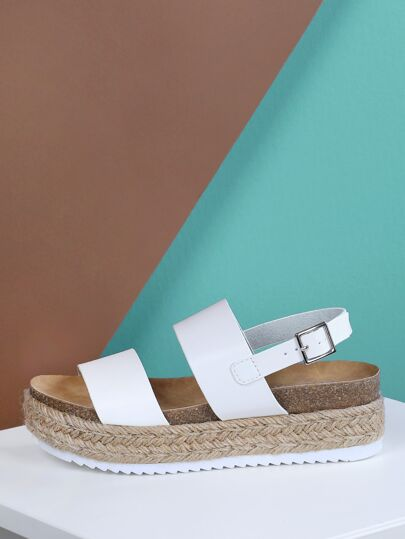 d0bdebb76317 Double Band Sling Back Espadrille Trim Flatform Sandal WHITE
