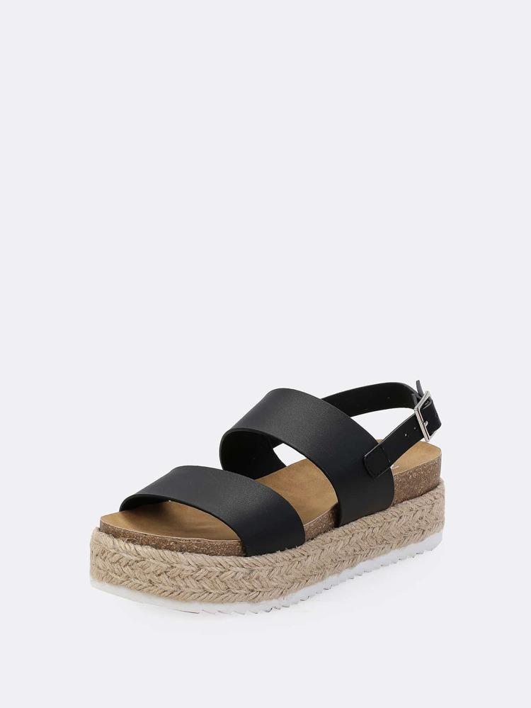 db416fdaf2 Cheap Double Band Cork Footbed Espadrille Platform Wedge Sandals BLACK for sale  Australia | SHEIN
