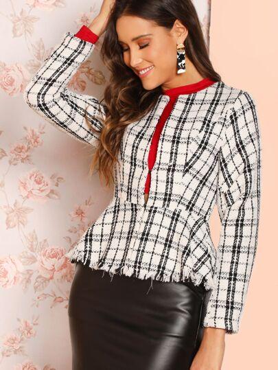 Chaquetas A cuadros Blanco y Negro Elegante 1009d6bbc524