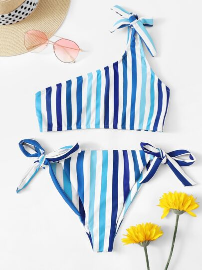 e78881bee7 Striped One Shoulder Top With Tie Side Bikini