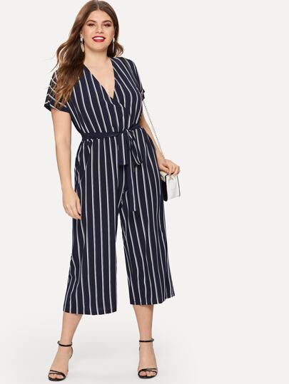 be8fe30d25 Plus Self Tie Striped Wide-Leg Jumpsuit