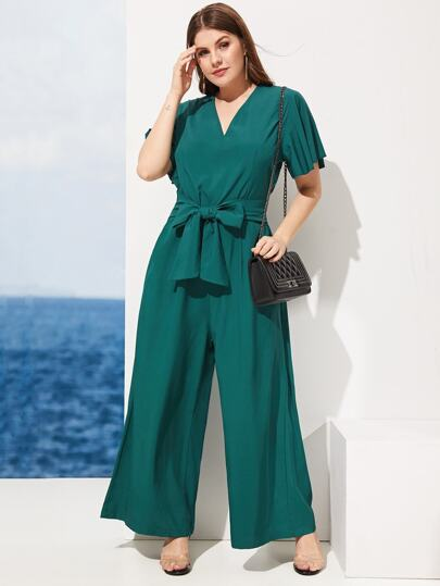 7714b0e606f2c Plus Self Tie V-Neck Jumpsuit