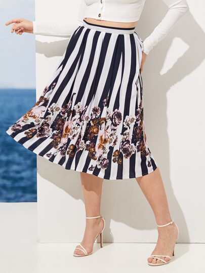 baffe9ad9d4 Plus Floral Print Striped Skirt