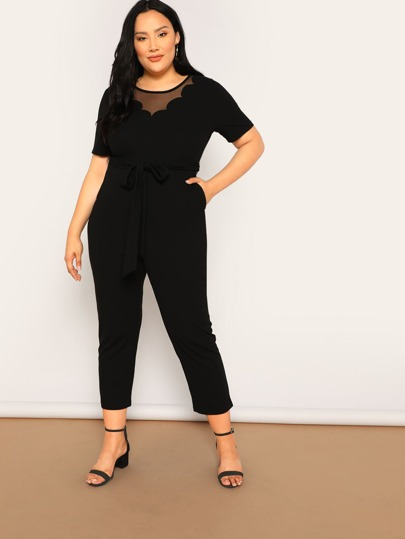7c42f04c431 Plus Scalloped Mesh Neck Belted Jumpsuit