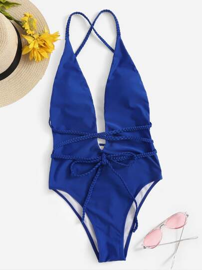 605df1c030 Criss Cross Backless One Piece Swimwear