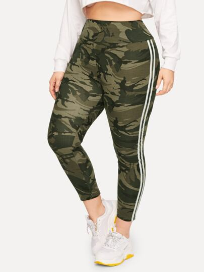 f186cdc765ac6 Plus Wide Waistband Striped Side Camo Leggings