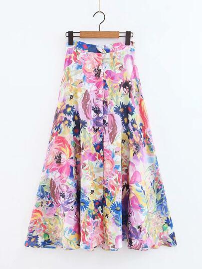 Falda con botón con estampado floral 4e0aaec6347e